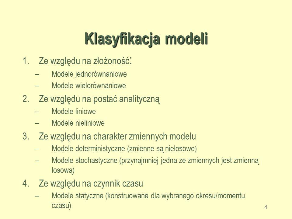 Klasyfikacja modeli 1.Ze względu na złożoność : –Modele jednorównaniowe –Modele wielorównaniowe 2.Ze względu na postać analityczną –Modele liniowe –Modele nieliniowe 3.Ze względu na charakter zmiennych modelu –Modele deterministyczne (zmienne są nielosowe) –Modele stochastyczne (przynajmniej jedna ze zmiennych jest zmienną losową) 4.Ze względu na czynnik czasu –Modele statyczne (konstruowane dla wybranego okresu/momentu czasu) 4