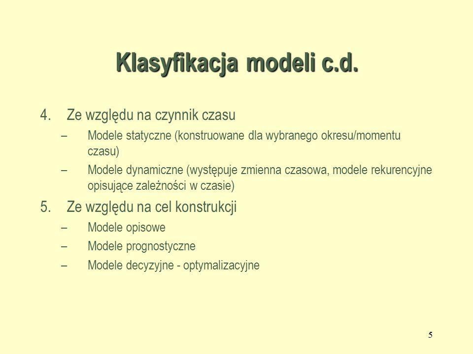 Klasyfikacja modeli c.d.