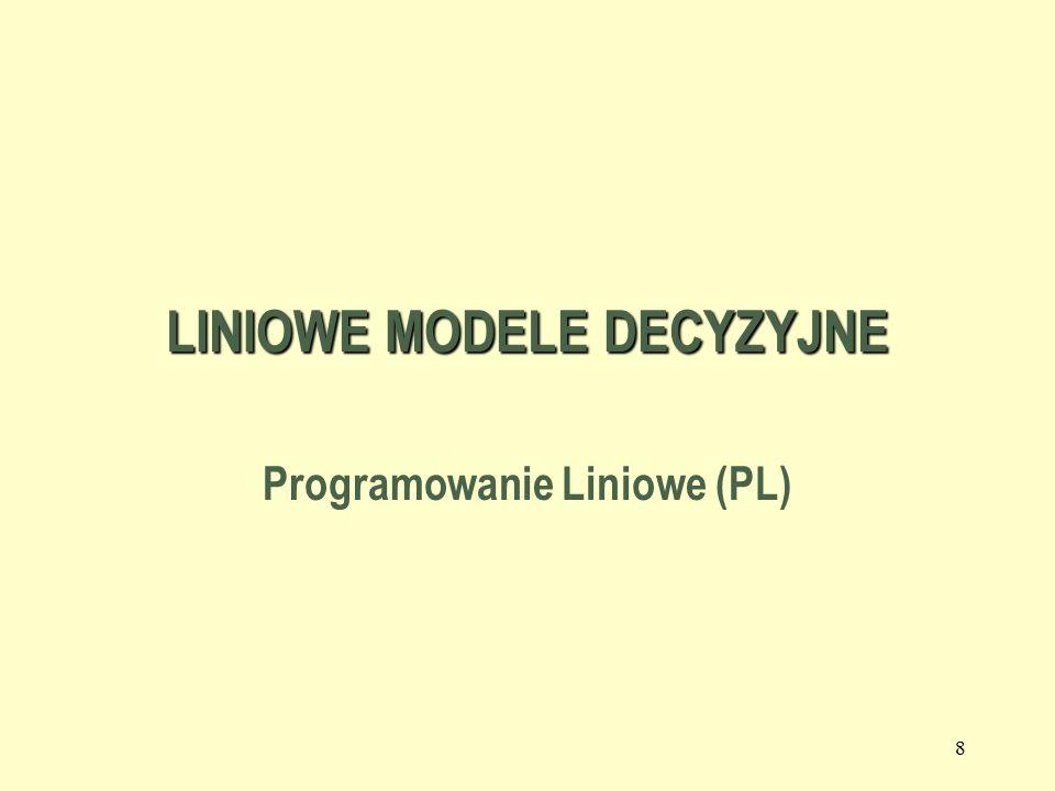 8 LINIOWE MODELE DECYZYJNE Programowanie Liniowe (PL)