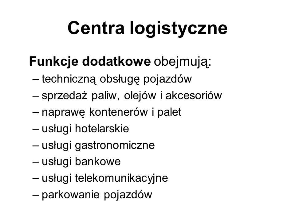 Centra logistyczne Funkcje dodatkowe obejmują: –techniczną obsługę pojazdów –sprzedaż paliw, olejów i akcesoriów –naprawę kontenerów i palet –usługi h