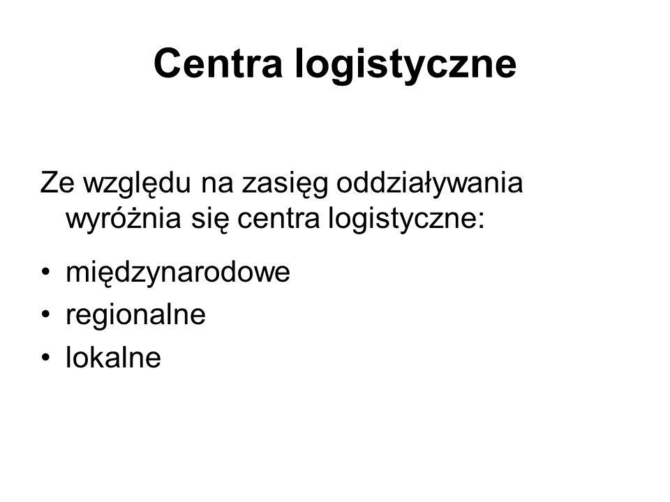 Centra logistyczne Ze względu na zasięg oddziaływania wyróżnia się centra logistyczne: międzynarodowe regionalne lokalne