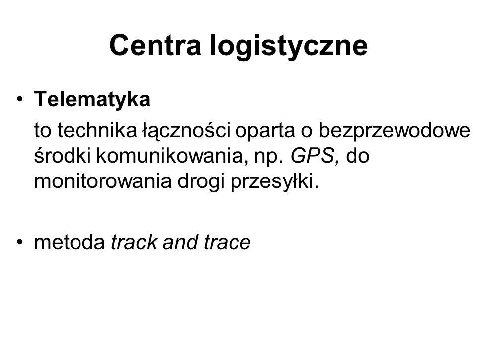 Centra logistyczne Telematyka to technika łączności oparta o bezprzewodowe środki komunikowania, np. GPS, do monitorowania drogi przesyłki. metoda tra