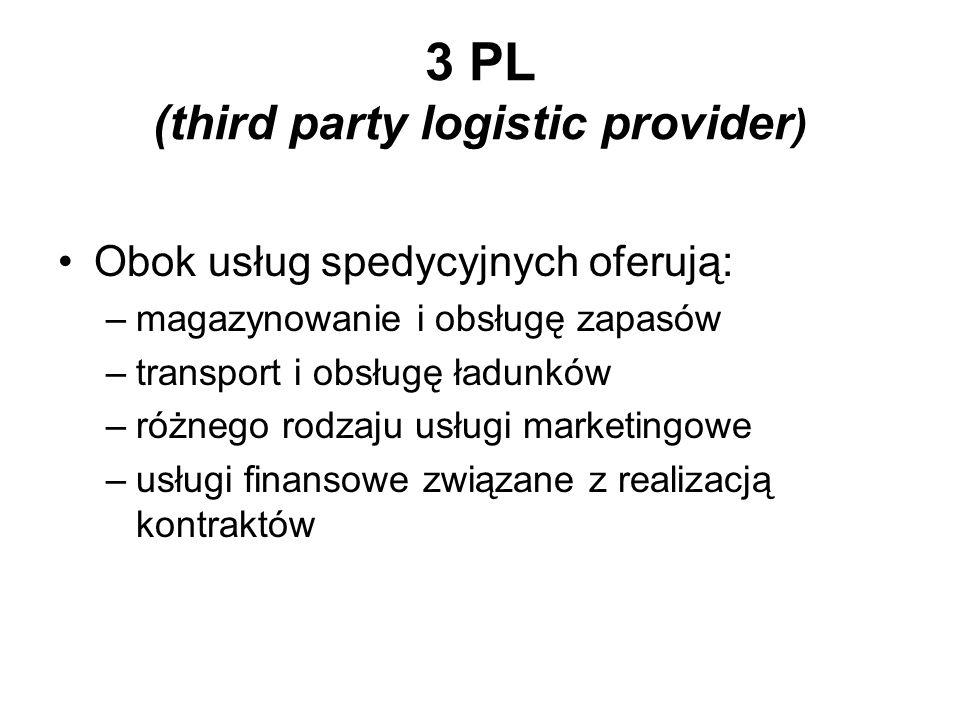 3 PL (third party logistic provider ) Obok usług spedycyjnych oferują: –magazynowanie i obsługę zapasów –transport i obsługę ładunków –różnego rodzaju