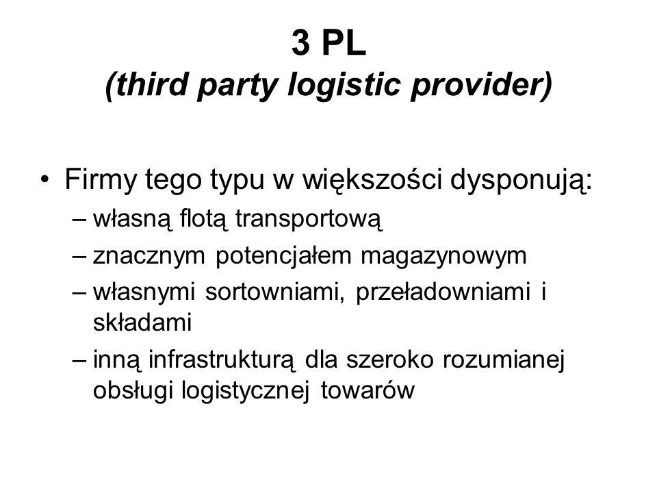 3 PL (third party logistic provider) Firmy tego typu w większości dysponują: –własną flotą transportową –znacznym potencjałem magazynowym –własnymi so