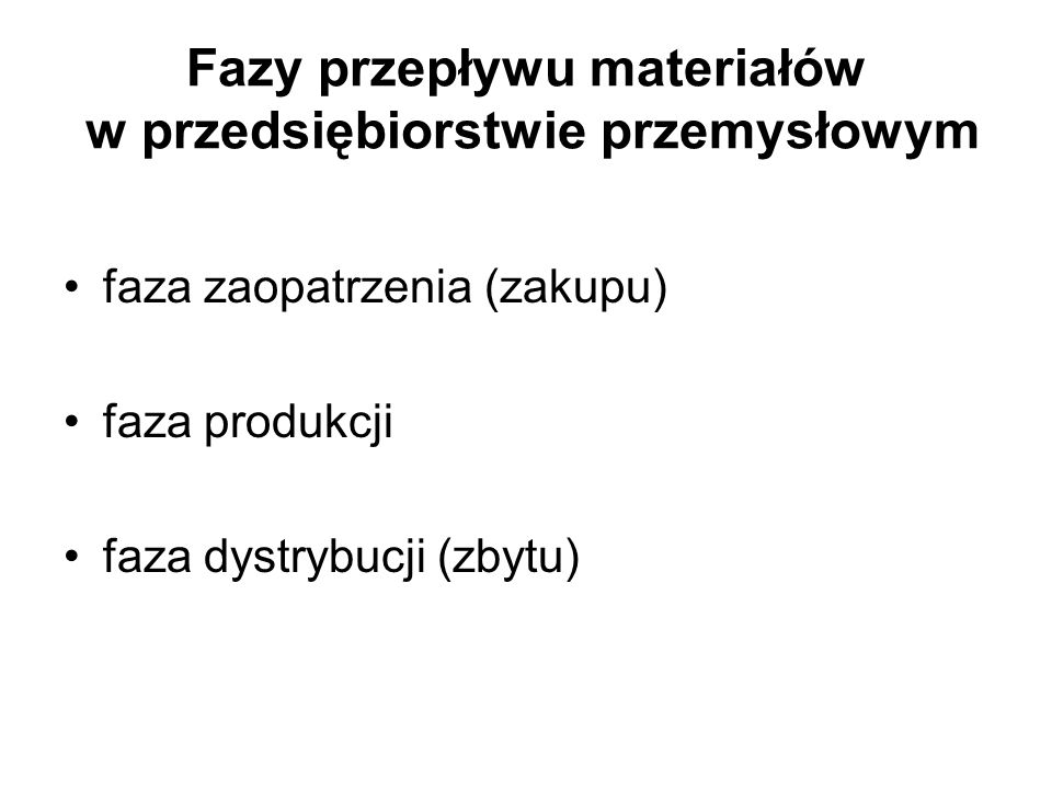 Fazy przepływu materiałów w przedsiębiorstwie przemysłowym faza zaopatrzenia (zakupu) faza produkcji faza dystrybucji (zbytu)