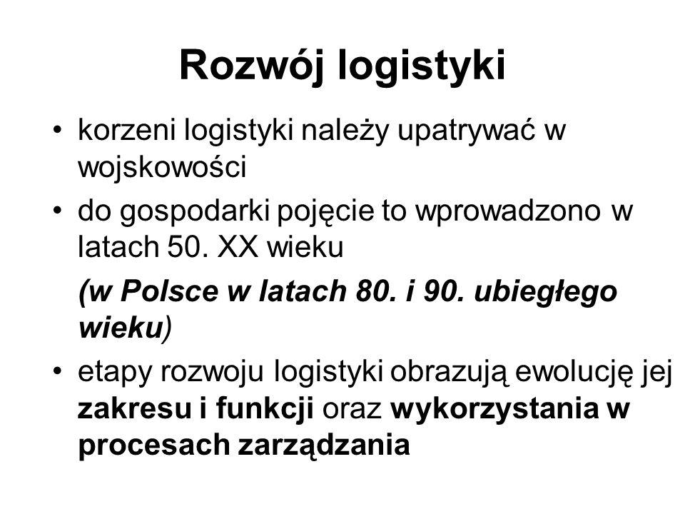 Rozwój logistyki korzeni logistyki należy upatrywać w wojskowości do gospodarki pojęcie to wprowadzono w latach 50. XX wieku (w Polsce w latach 80. i