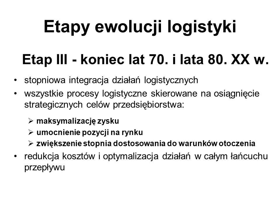 Etapy ewolucji logistyki Etap III - koniec lat 70. i lata 80. XX w. stopniowa integracja działań logistycznych wszystkie procesy logistyczne skierowan