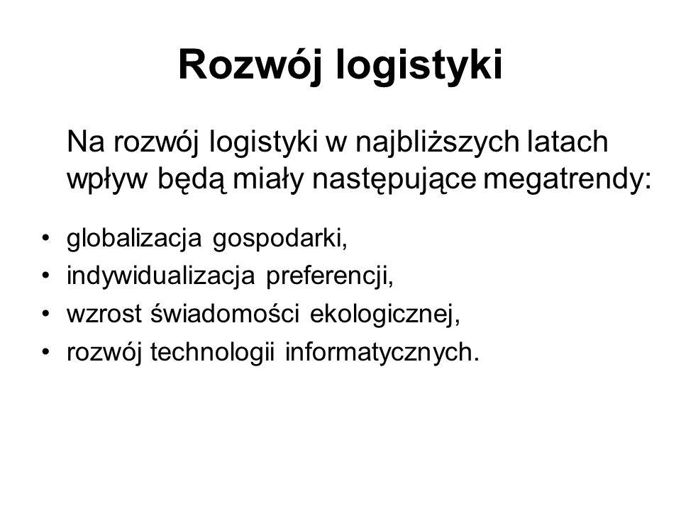 Rozwój logistyki Na rozwój logistyki w najbliższych latach wpływ będą miały następujące megatrendy: globalizacja gospodarki, indywidualizacja preferen