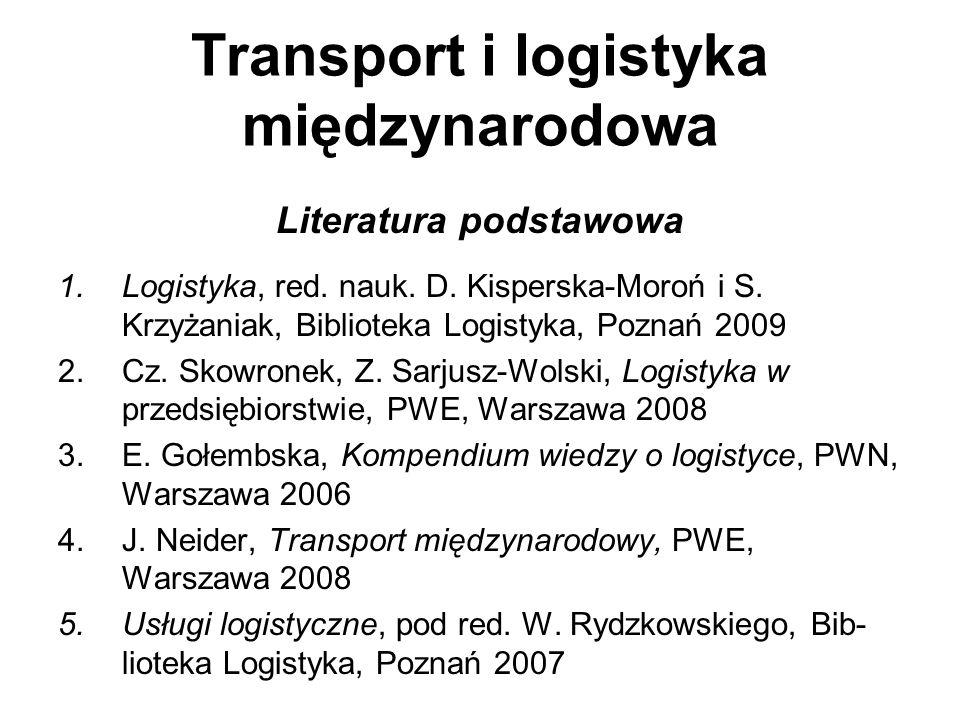 Transport i logistyka międzynarodowa Literatura podstawowa 1.Logistyka, red. nauk. D. Kisperska-Moroń i S. Krzyżaniak, Biblioteka Logistyka, Poznań 20