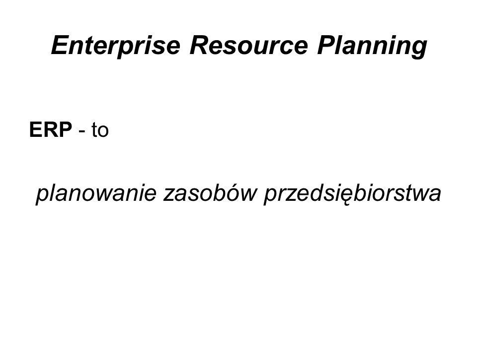 Enterprise Resource Planning ERP - to planowanie zasobów przedsiębiorstwa
