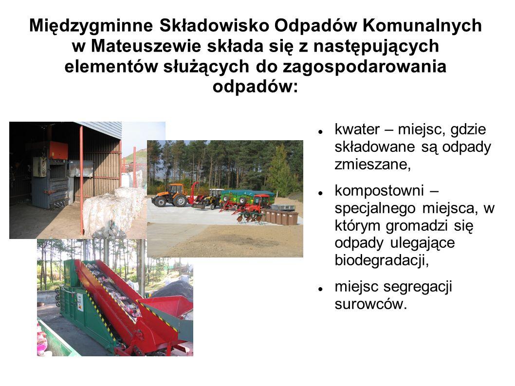 Międzygminne Składowisko Odpadów Komunalnych w Mateuszewie składa się z następujących elementów służących do zagospodarowania odpadów: kwater – miejsc