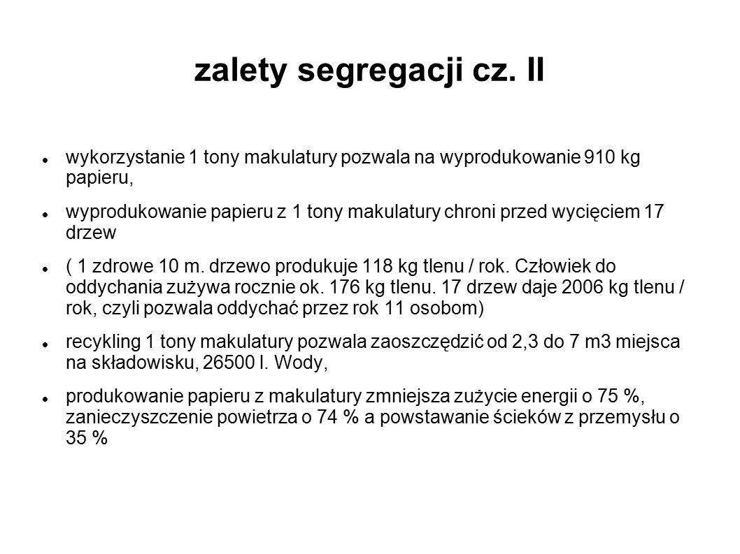 zalety segregacji cz. II wykorzystanie 1 tony makulatury pozwala na wyprodukowanie 910 kg papieru, wyprodukowanie papieru z 1 tony makulatury chroni p
