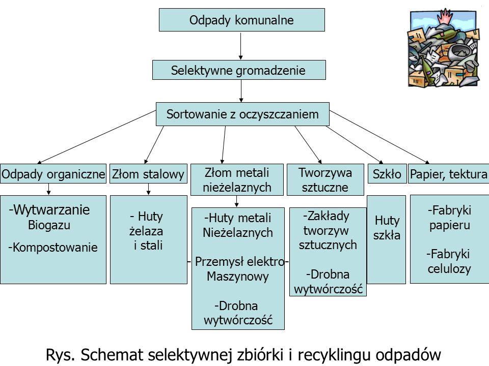 Odpady komunalne Selektywne gromadzenie Sortowanie z oczyszczaniem Odpady organiczneZłom stalowyPapier, tekturaSzkło Złom metali nieżelaznych Tworzywa sztuczne -Kompostowanie -Huty metali Nieżelaznych - Przemysł elektro- Maszynowy -Drobna wytwórczość -Zakłady tworzyw sztucznych -Drobna wytwórczość -Fabryki papieru -Fabryki celulozy Rys.