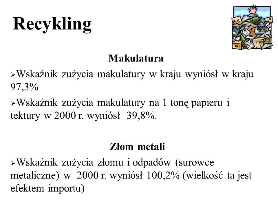 Recykling Makulatura  Wskaźnik zużycia makulatury w kraju wyniósł w kraju 97,3%  Wskaźnik zużycia makulatury na 1 tonę papieru i tektury w 2000 r.