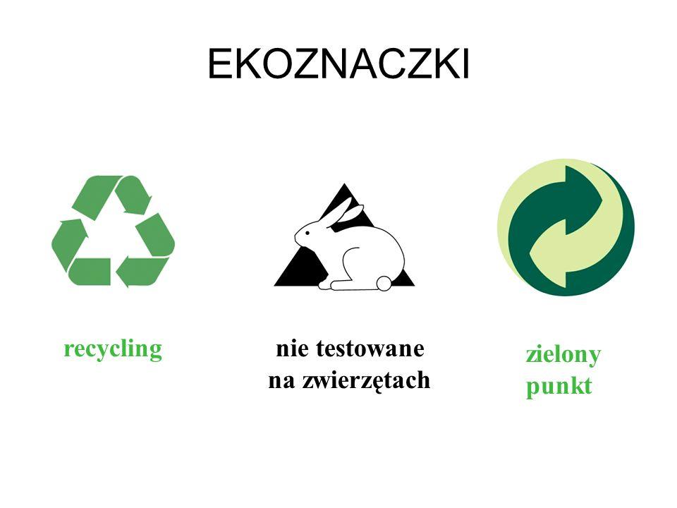 EKOZNACZKI recyclingnie testowane na zwierzętach zielony punkt