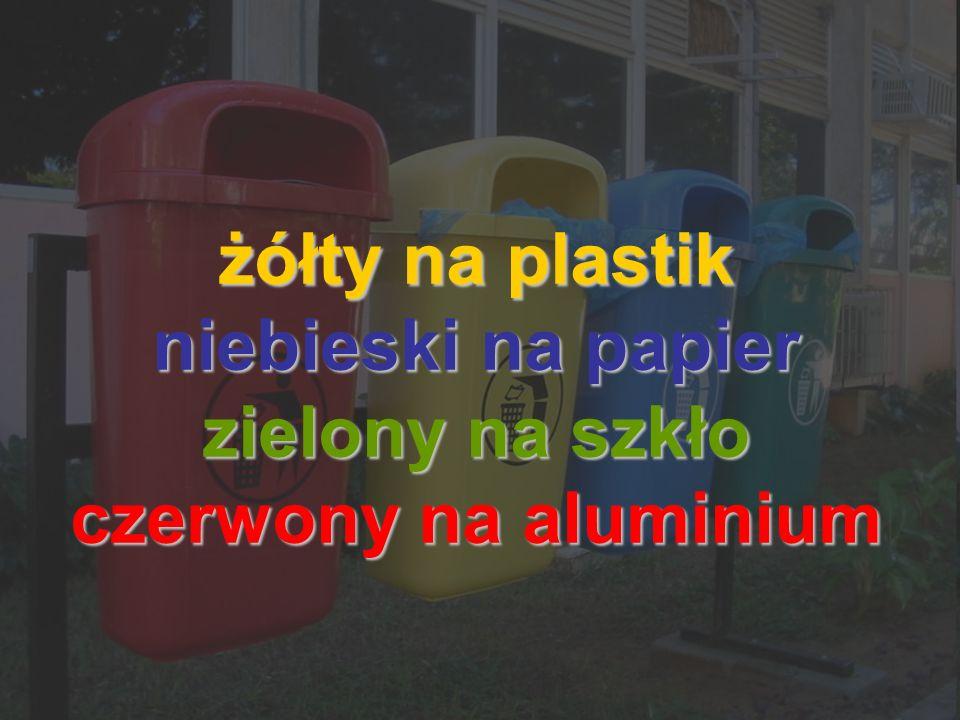 żółty na plastik niebieski na papier zielony na szkło czerwony na aluminium