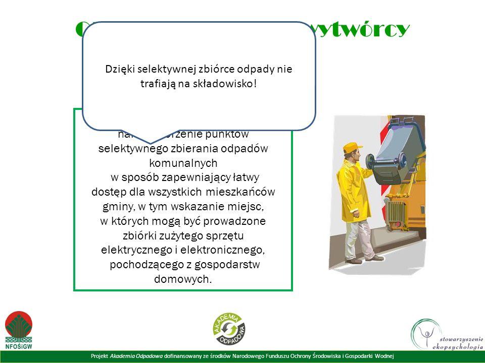 Projekt Akademia Odpadowa dofinansowany ze środków Narodowego Funduszu Ochrony Środowiska i Gospodarki Wodnej Obowi ą zki ka ż dego wytwórcy odpadów DO OBOWIĄZKÓW GMINY należy tworzenie punktów selektywnego zbierania odpadów komunalnych w sposób zapewniający łatwy dostęp dla wszystkich mieszkańców gminy, w tym wskazanie miejsc, w których mogą być prowadzone zbiórki zużytego sprzętu elektrycznego i elektronicznego, pochodzącego z gospodarstw domowych.