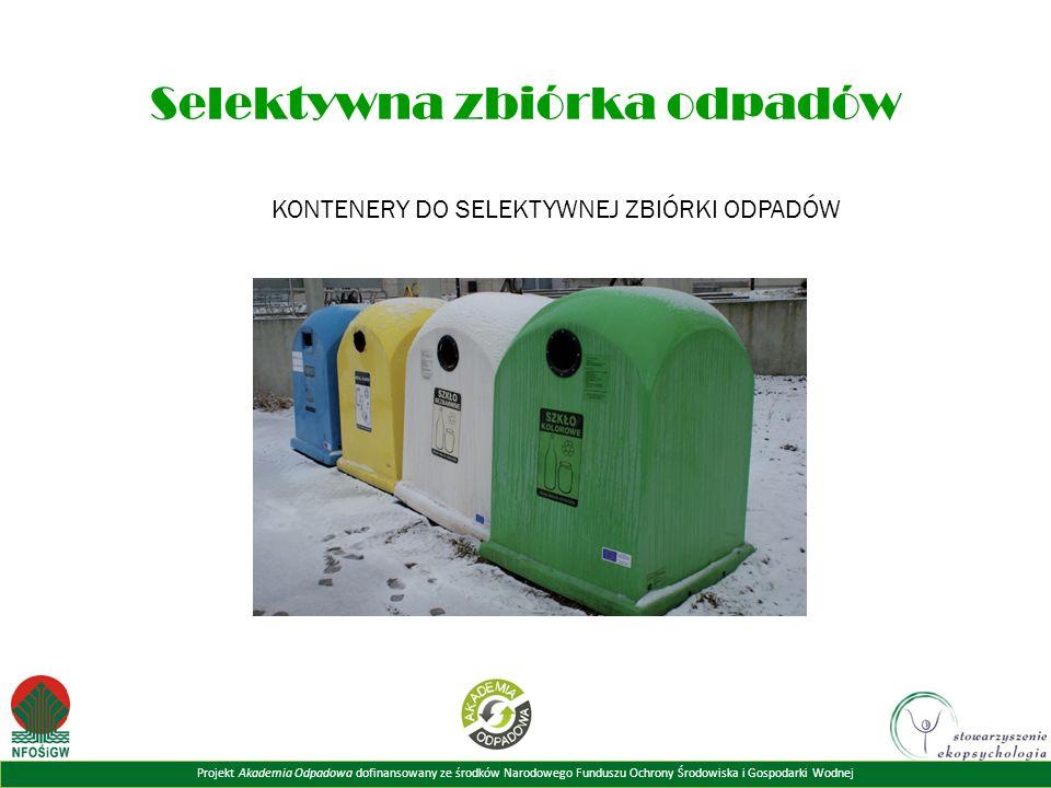 Projekt Akademia Odpadowa dofinansowany ze środków Narodowego Funduszu Ochrony Środowiska i Gospodarki Wodnej Selektywna zbiórka odpadów KONTENERY DO SELEKTYWNEJ ZBIÓRKI ODPADÓW