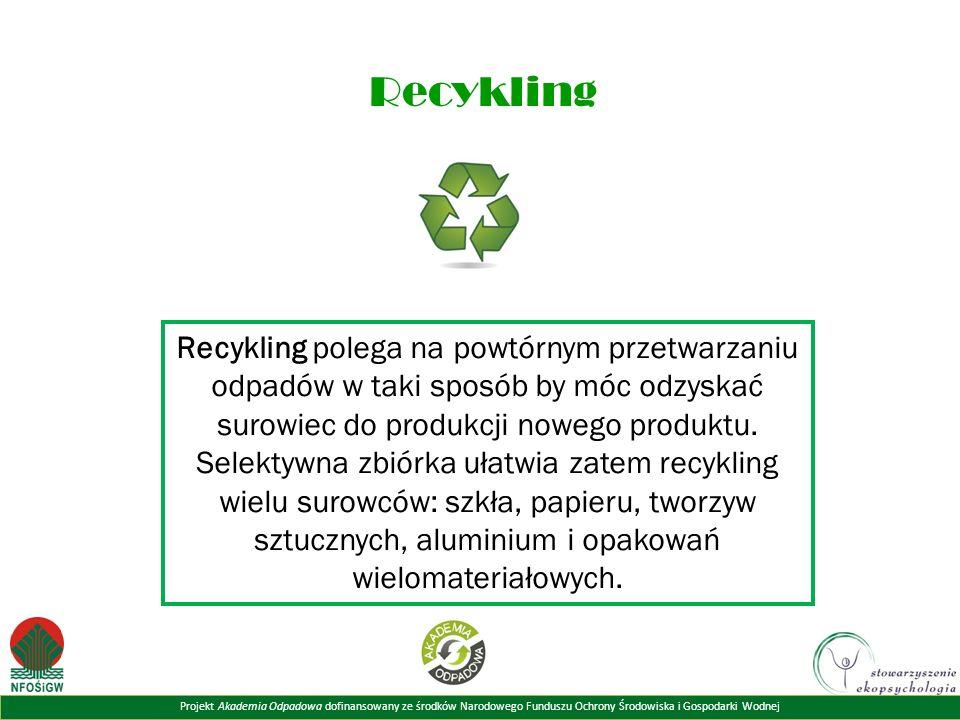 Projekt Akademia Odpadowa dofinansowany ze środków Narodowego Funduszu Ochrony Środowiska i Gospodarki Wodnej Recykling Recykling polega na powtórnym przetwarzaniu odpadów w taki sposób by móc odzyskać surowiec do produkcji nowego produktu.