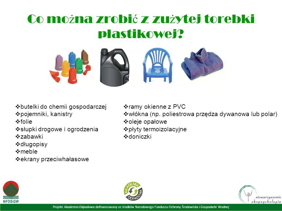 Projekt Akademia Odpadowa dofinansowany ze środków Narodowego Funduszu Ochrony Środowiska i Gospodarki Wodnej Co mo ż na zrobi ć z zu ż ytej torebki plastikowej.