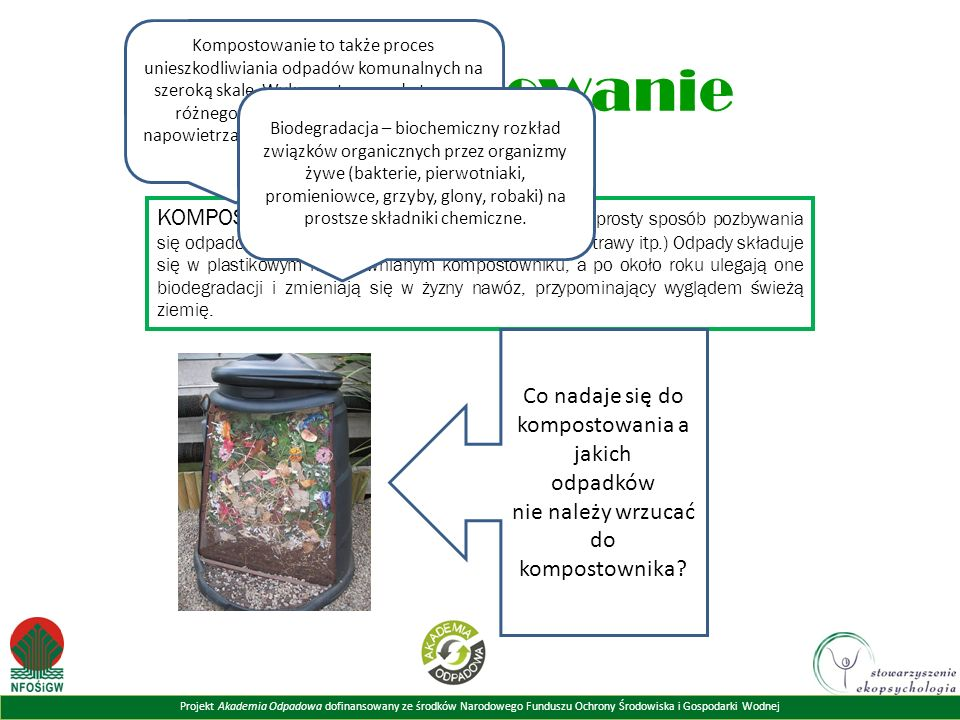 Projekt Akademia Odpadowa dofinansowany ze środków Narodowego Funduszu Ochrony Środowiska i Gospodarki Wodnej Kompostowanie KOMPOSTOWANIE to przyjazny środowisku, tani i prosty sposób pozbywania się odpadów organicznych (resztek jedzenia, skoszonej trawy itp.) Odpady składuje się w plastikowym lub drewnianym kompostowniku, a po około roku ulegają one biodegradacji i zmieniają się w żyzny nawóz, przypominający wyglądem świeżą ziemię.