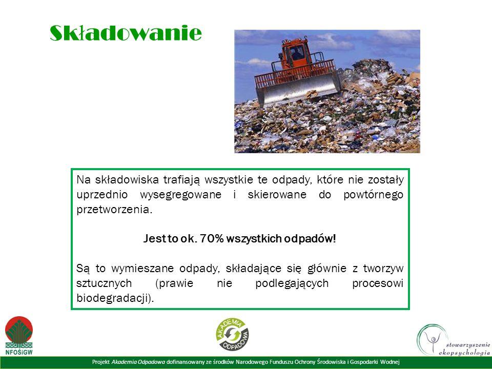 Projekt Akademia Odpadowa dofinansowany ze środków Narodowego Funduszu Ochrony Środowiska i Gospodarki Wodnej Sk ł adowanie Na składowiska trafiają wszystkie te odpady, które nie zostały uprzednio wysegregowane i skierowane do powtórnego przetworzenia.