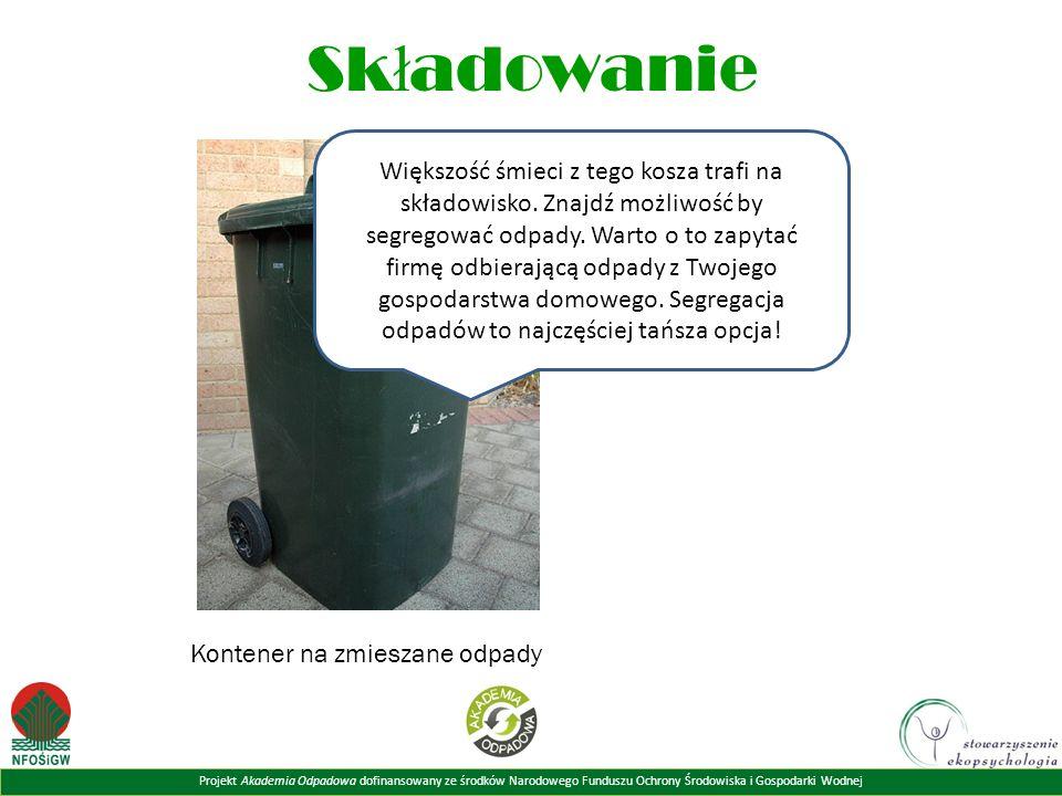 Projekt Akademia Odpadowa dofinansowany ze środków Narodowego Funduszu Ochrony Środowiska i Gospodarki Wodnej Sk ł adowanie Większość śmieci z tego kosza trafi na składowisko.
