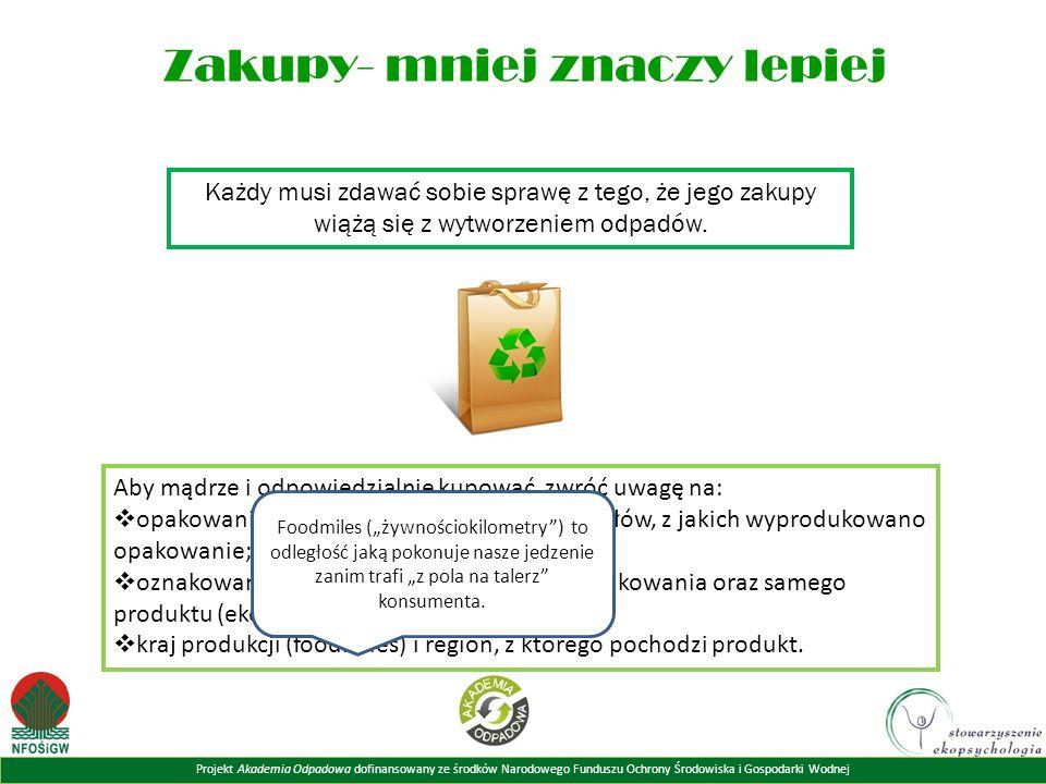 Projekt Akademia Odpadowa dofinansowany ze środków Narodowego Funduszu Ochrony Środowiska i Gospodarki Wodnej Zakupy- mniej znaczy lepiej Każdy musi zdawać sobie sprawę z tego, że jego zakupy wiążą się z wytworzeniem odpadów.
