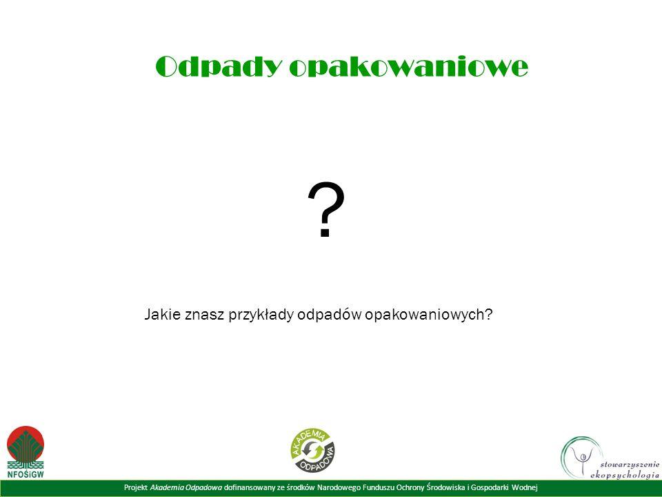 Projekt Akademia Odpadowa dofinansowany ze środków Narodowego Funduszu Ochrony Środowiska i Gospodarki Wodnej Odpady opakowaniowe .