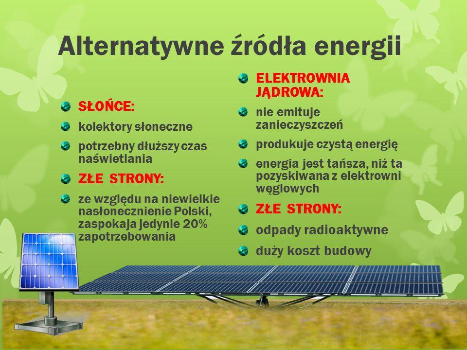 Alternatywne źródła energii WIATR: turbiny zgromadzone są na farmach wiatrowych ZŁE STRONY: duży hałas i trudności z magazynowaniem pozyskanej energii