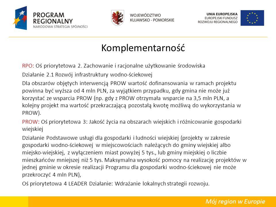 Mój region w Europie Komplementarność RPO: Oś priorytetowa 2. Zachowanie i racjonalne użytkowanie środowiska Działanie 2.1 Rozwój infrastruktury wodno