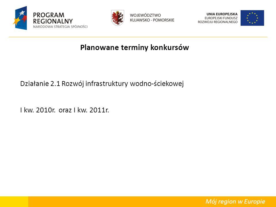 Mój region w Europie Planowane terminy konkursów Działanie 2.1 Rozwój infrastruktury wodno-ściekowej I kw. 2010r. oraz I kw. 2011r.