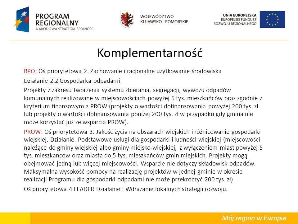 Mój region w Europie Komplementarność RPO: Oś priorytetowa 2. Zachowanie i racjonalne użytkowanie środowiska Działanie 2.2 Gospodarka odpadami Projekt
