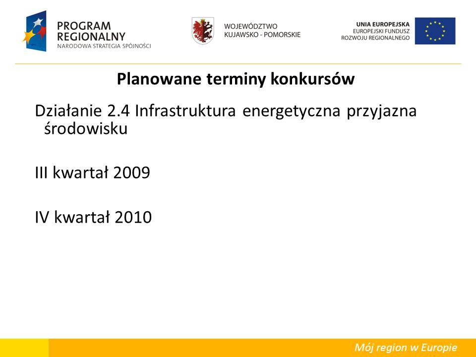 Mój region w Europie Planowane terminy konkursów Działanie 2.4 Infrastruktura energetyczna przyjazna środowisku III kwartał 2009 IV kwartał 2010