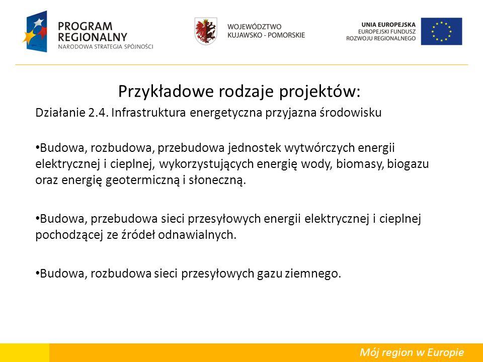 Mój region w Europie Przykładowe rodzaje projektów: Działanie 2.4. Infrastruktura energetyczna przyjazna środowisku Budowa, rozbudowa, przebudowa jedn