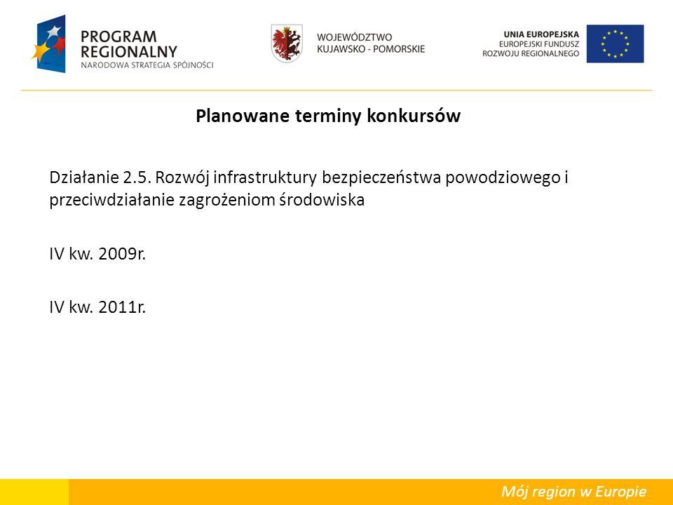 Mój region w Europie Planowane terminy konkursów Działanie 2.5. Rozwój infrastruktury bezpieczeństwa powodziowego i przeciwdziałanie zagrożeniom środo