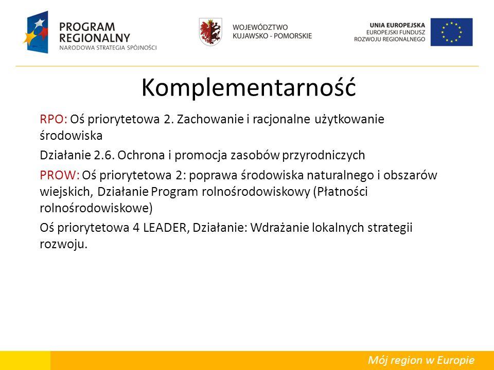 Mój region w Europie Komplementarność RPO: Oś priorytetowa 2. Zachowanie i racjonalne użytkowanie środowiska Działanie 2.6. Ochrona i promocja zasobów