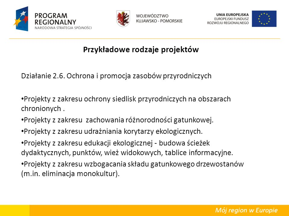 Mój region w Europie Przykładowe rodzaje projektów Działanie 2.6. Ochrona i promocja zasobów przyrodniczych Projekty z zakresu ochrony siedlisk przyro