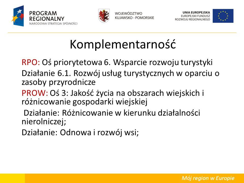 Mój region w Europie Komplementarność RPO: Oś priorytetowa 6. Wsparcie rozwoju turystyki Działanie 6.1. Rozwój usług turystycznych w oparciu o zasoby