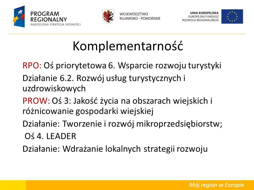Mój region w Europie Komplementarność RPO: Oś priorytetowa 6. Wsparcie rozwoju turystyki Działanie 6.2. Rozwój usług turystycznych i uzdrowiskowych PR
