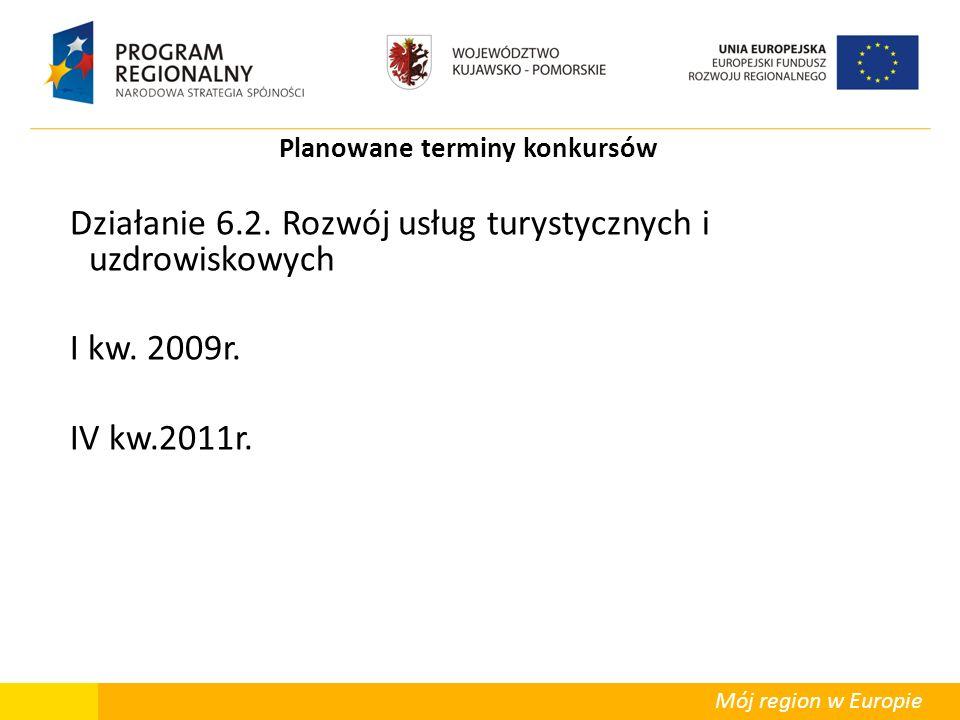 Mój region w Europie Planowane terminy konkursów Działanie 6.2. Rozwój usług turystycznych i uzdrowiskowych I kw. 2009r. IV kw.2011r.