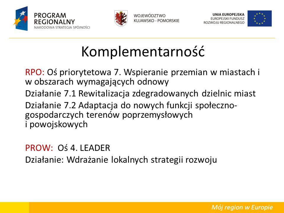 Mój region w Europie Komplementarność RPO: Oś priorytetowa 7. Wspieranie przemian w miastach i w obszarach wymagających odnowy Działanie 7.1 Rewitaliz