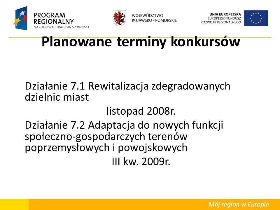 Mój region w Europie Planowane terminy konkursów Działanie 7.1 Rewitalizacja zdegradowanych dzielnic miast listopad 2008r. Działanie 7.2 Adaptacja do