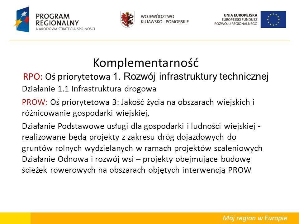Mój region w Europie Komplementarność RPO: Oś priorytetowa 1. Rozwój infrastruktury technicznej Działanie 1.1 Infrastruktura drogowa PROW: Oś prioryte