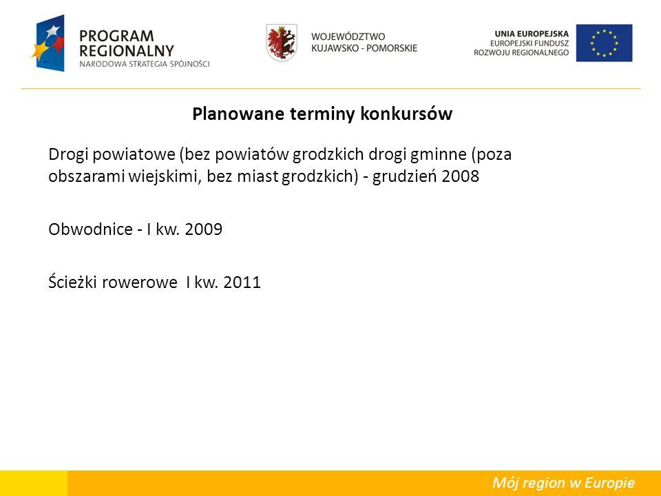 Mój region w Europie Planowane terminy konkursów Drogi powiatowe (bez powiatów grodzkich drogi gminne (poza obszarami wiejskimi, bez miast grodzkich) - grudzień 2008 Obwodnice - I kw.