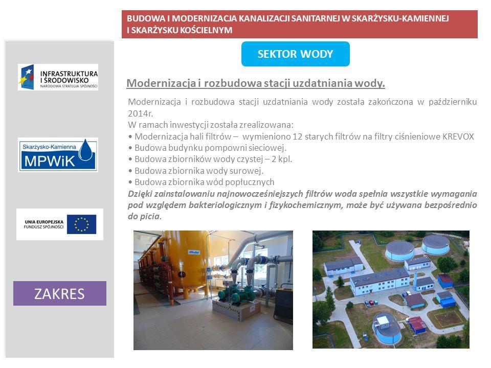 BUDOWA I MODERNIZACJA KANALIZACJI SANITARNEJ W SKARŻYSKU-KAMIENNEJ I SKARŻYSKU KOŚCIELNYM ZAKRES Ochrona wód podziemnych i powierzchniowych SEKTOR WODY Modernizacja i rozbudowa stacji uzdatniania wody.