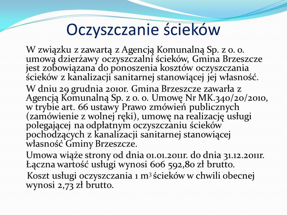 Oczyszczanie ścieków W związku z zawartą z Agencją Komunalną Sp.