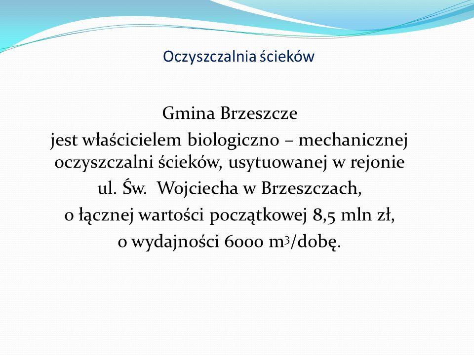Oczyszczalnia ścieków Gmina Brzeszcze jest właścicielem biologiczno – mechanicznej oczyszczalni ścieków, usytuowanej w rejonie ul.