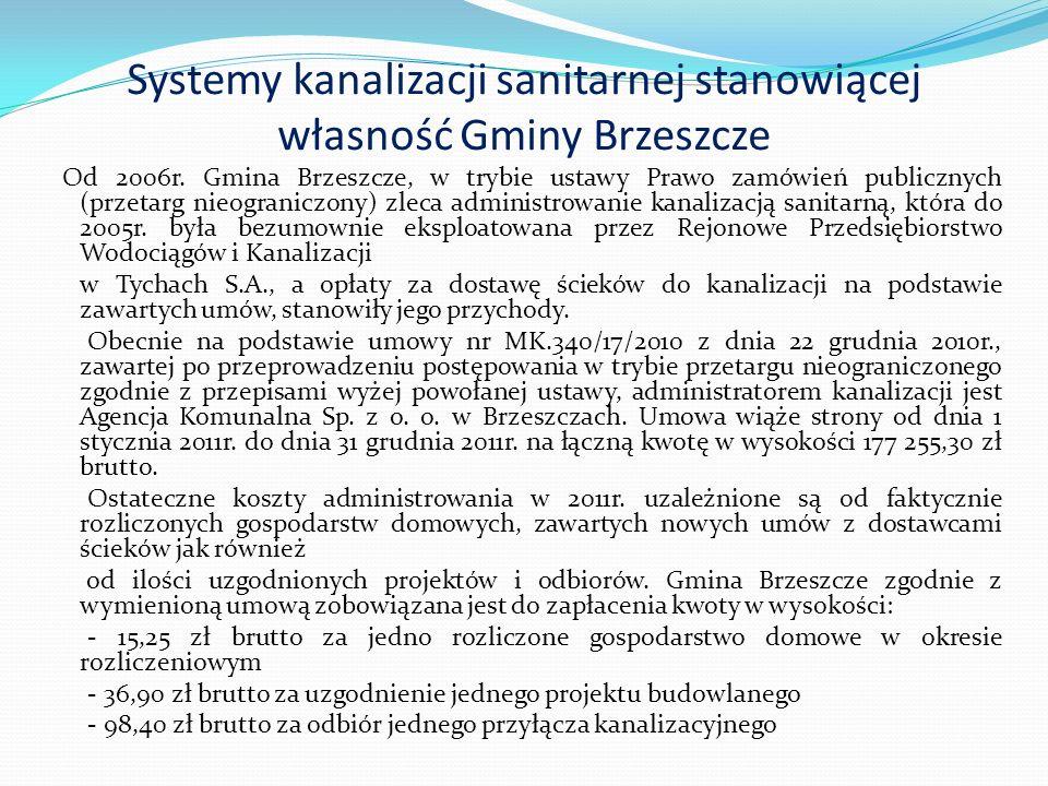 Systemy kanalizacji sanitarnej stanowiącej własność Gminy Brzeszcze Na podstawie wymienionej umowy, Agencja Komunalna Sp.