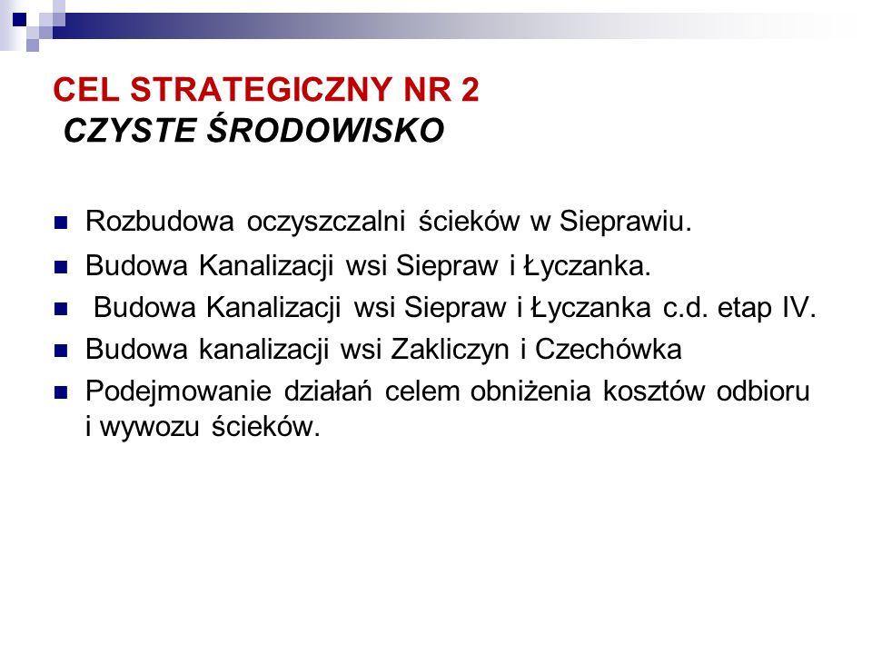 CEL STRATEGICZNY NR 2 CZYSTE ŚRODOWISKO Rozbudowa oczyszczalni ścieków w Sieprawiu.